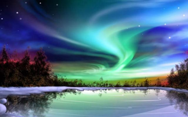 Winter northern light picture
